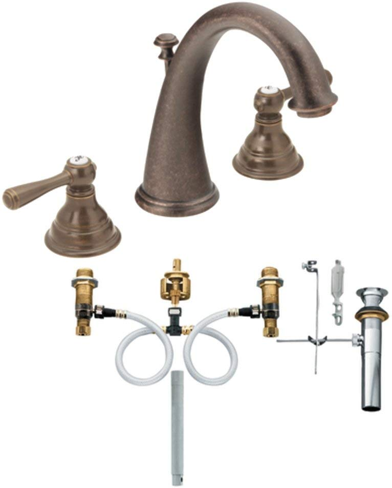 Moen T6125ORB-9000 Kingsley Two-Handle High Arc Bathroom Faucet with Valve, Oil Rubbed Bronze