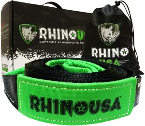 Rhino USA Recovery Tow Strap with Heavy Duty Draw String Bag
