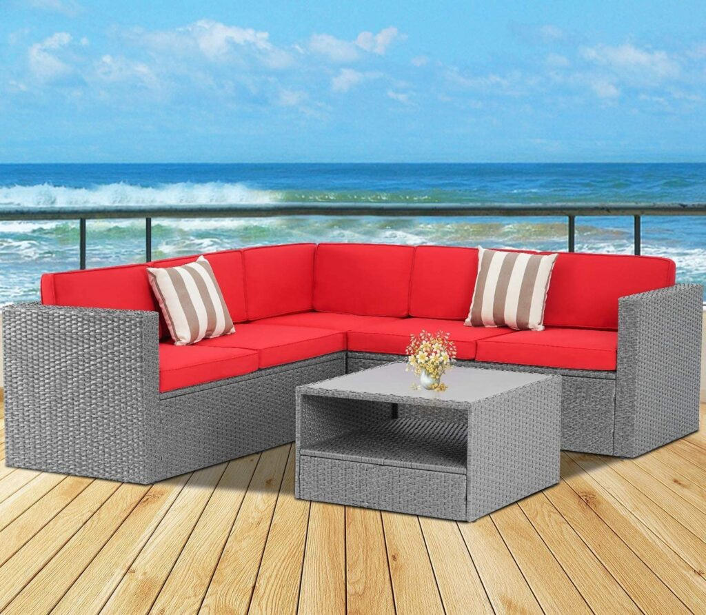 SOLAURA Outdoor 4-Piece Patio Furniture Set